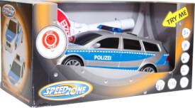 Speedzone Polizeiauto mit Polizeikelle