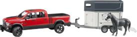 Bruder 02501 RAM 2500 Power Wagon mit Pferdeanhänger und 1 Pferd, ab 3 Jahren, Maße: 74,2 x 17 x 18,5 cm, Kunststoff