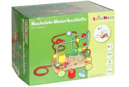 SpielMaus Holz Nachziehwagen mit Motorikschleife, ca. 21,5x17x15,5 cm, ab 12 Monaten