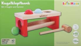 SpielMaus Holz Kugelklopfbank, 5-teilig, ca. 24x11x10 cm, ab 12 Monaten