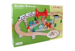 SpielMaus Holz Eisenbahn Spielset, 50-teilig
