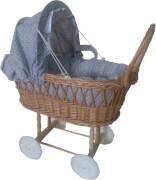 Puppen-Korbwagen m.Garnitur, grau/weiß Punkte